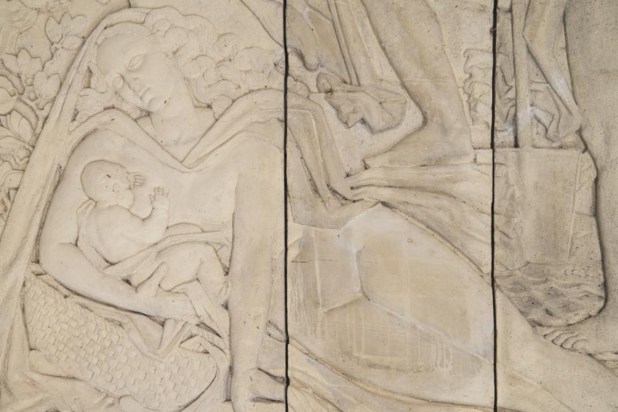 Maternity and Agriculture, important monumental Art Deco bas-relief in composite stone, signed-5