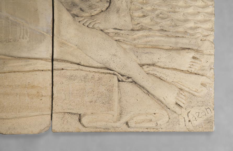 Maternity and Agriculture, important monumental Art Deco bas-relief in composite stone, signed-6