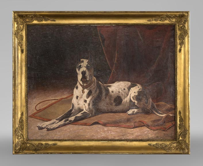 Oil on canvas with a Great Dane-0