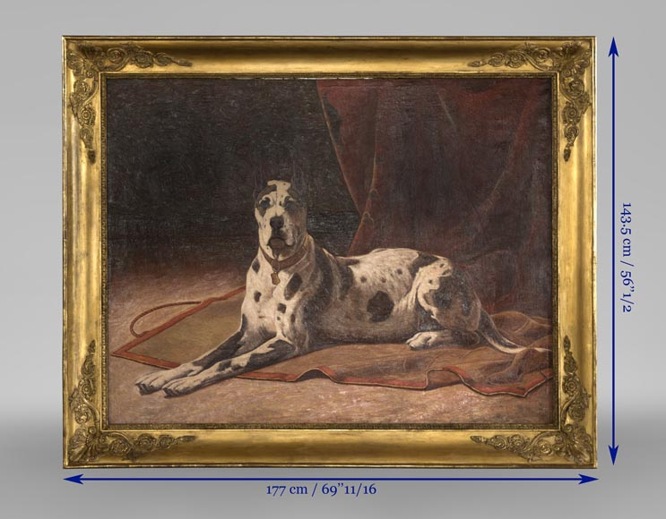 Oil on canvas with a Great Dane-2
