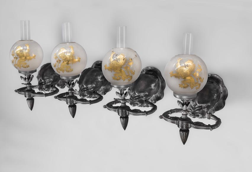 Suite of four Napoleon III period sconces with bronze panther head-0