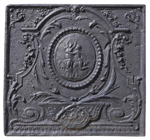 Daphne and Apollo, antique Louis XVI style fireback with a mythological decor-0