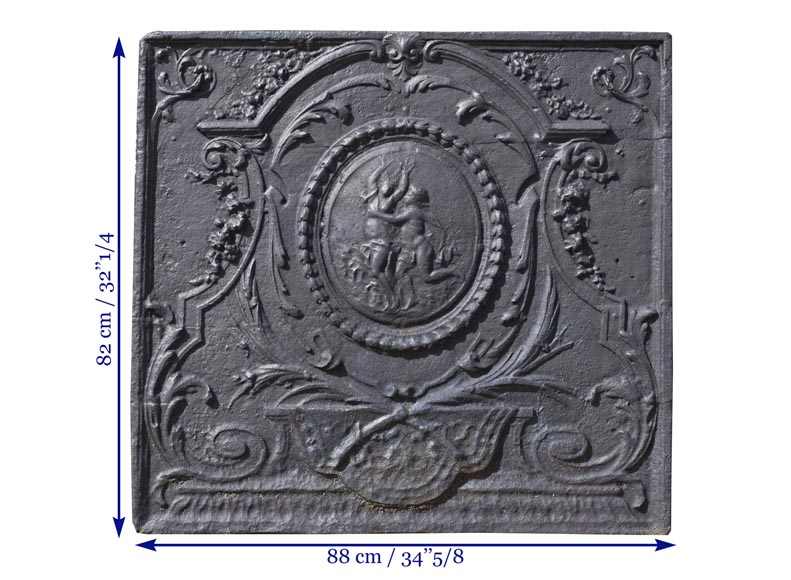 Daphne and Apollo, antique Louis XVI style fireback with a mythological decor-7