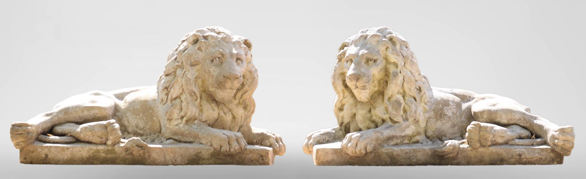Important pair of statues with majestic lions made of composit stone-0