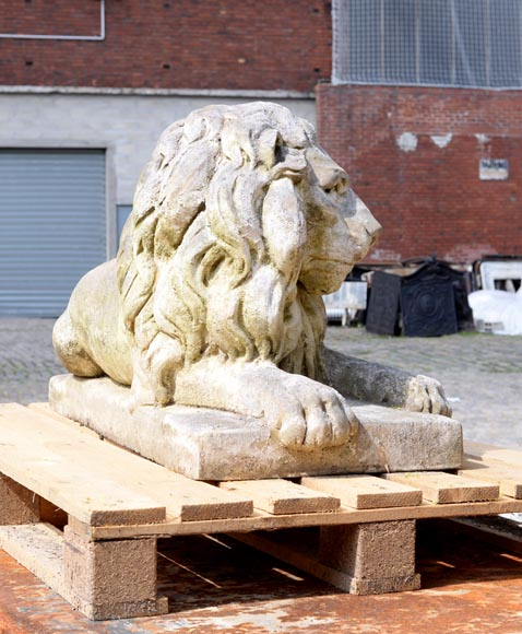 Important pair of statues with majestic lions made of composit stone-7