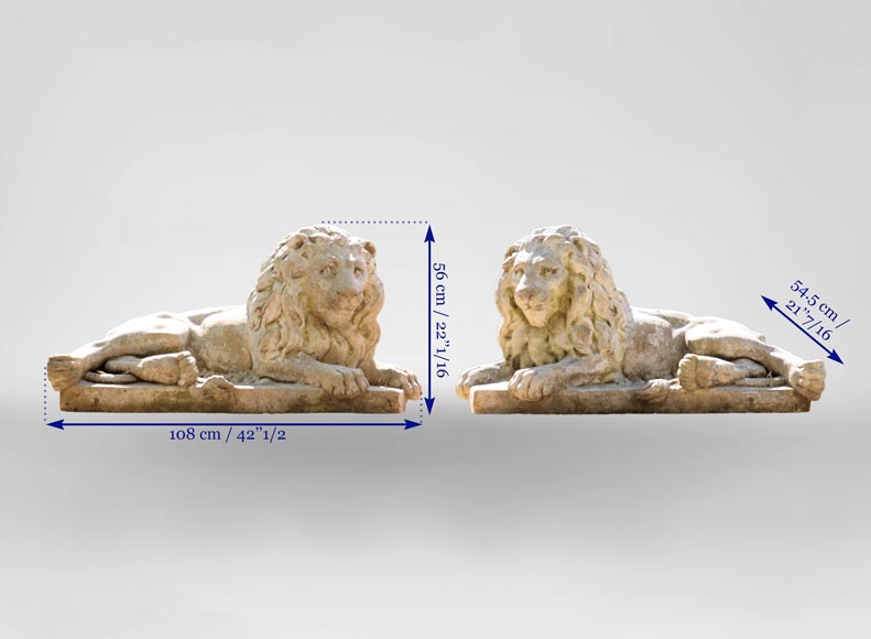 Important pair of statues with majestic lions made of composit stone-12