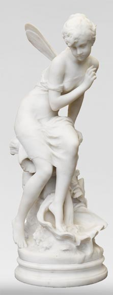 Mathurin MOREAU (1822-1912) - Psyché, statue in white statuary marble-0