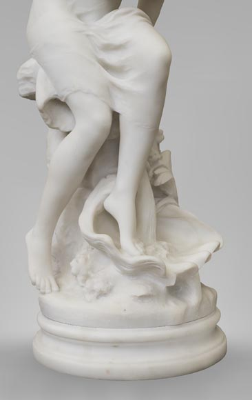 Mathurin MOREAU (1822-1912) - Psyché, statue in white statuary marble-3