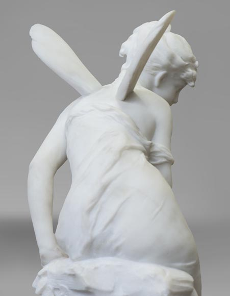 Mathurin MOREAU (1822-1912) - Psyché, statue in white statuary marble-6