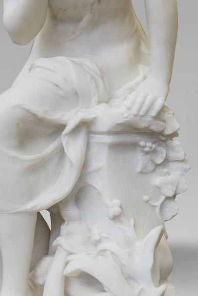 Mathurin MOREAU (1822-1912) - Psyché, statue in white statuary marble-8