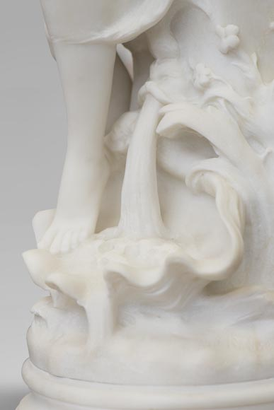 Mathurin MOREAU (1822-1912) - Psyché, statue in white statuary marble-10