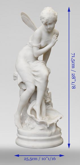 Mathurin MOREAU (1822-1912) - Psyché, statue in white statuary marble-12