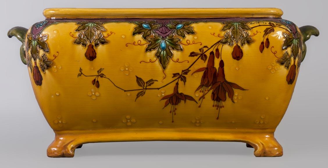 Earthenware jardinière with HERBERT signature decoration   Ceramic