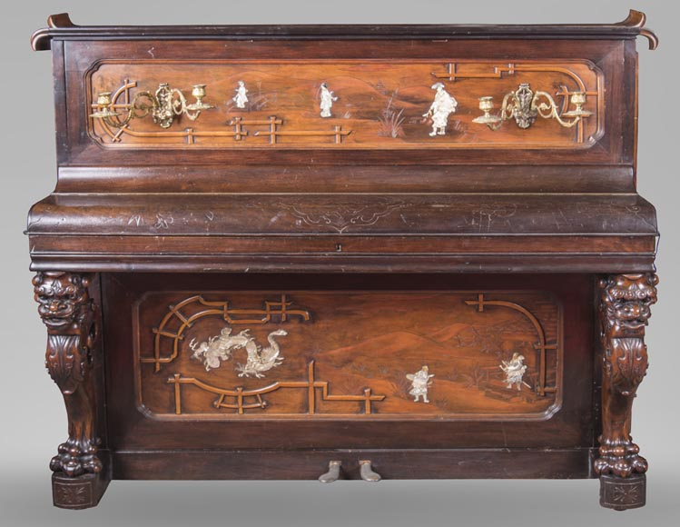 Perret et Vibert (attr. to) - Japanese style piano with an Oriental dragon-0