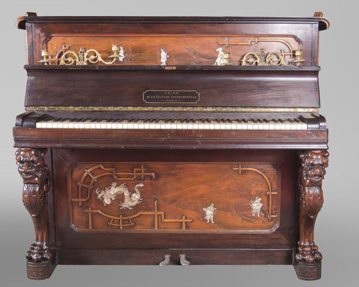 Perret et Vibert (attr. to) - Japanese style piano with an Oriental dragon-1