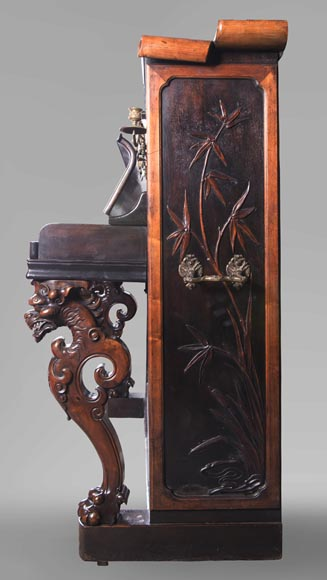 Perret et Vibert (attr. to) - Japanese style piano with an Oriental dragon-3