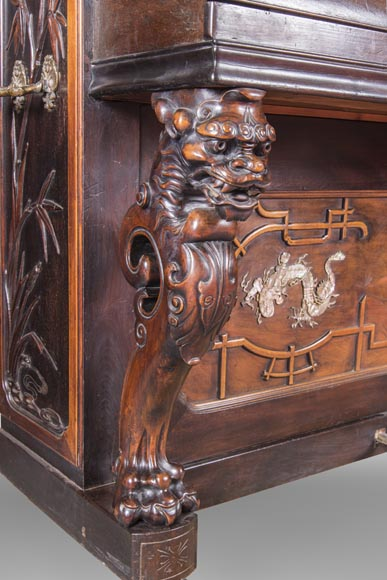 Perret et Vibert (attr. to) - Japanese style piano with an Oriental dragon-4