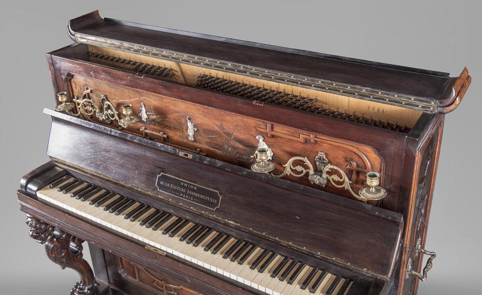 Perret et Vibert (attr. to) - Japanese style piano with an Oriental dragon-5