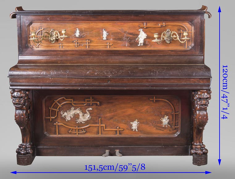 Perret et Vibert (attr. to) - Japanese style piano with an Oriental dragon-13