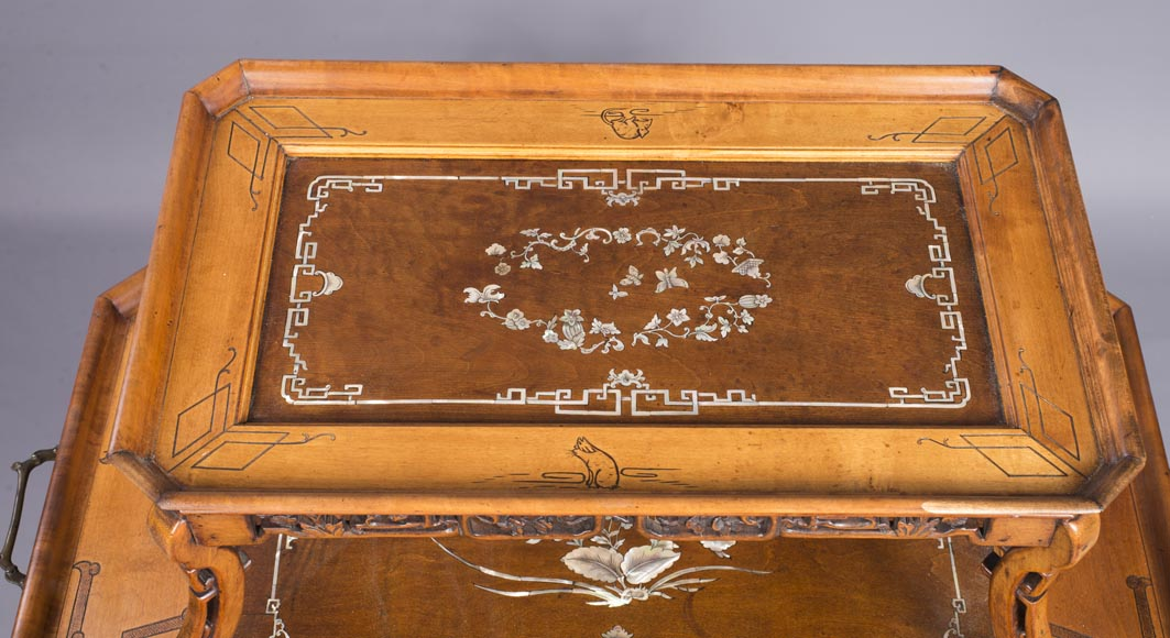 Japanese style tea table with mother-of-pearl inlays-3