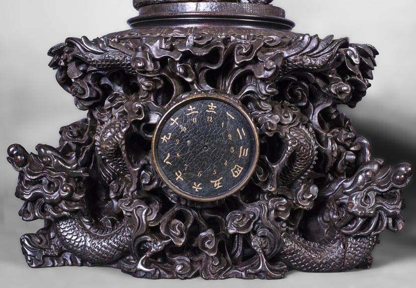 Set including a clock and a barometer with dragon decoration-3