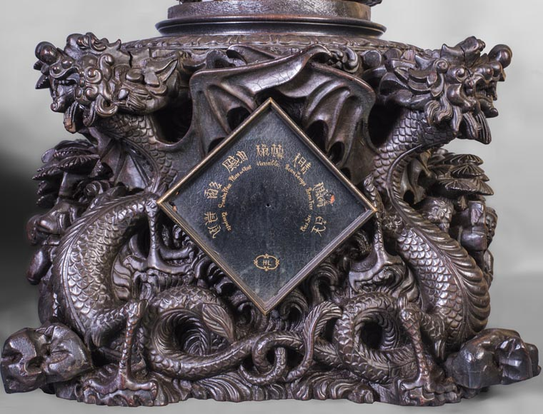 Set including a clock and a barometer with dragon decoration-7