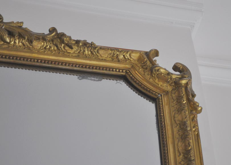 Antique Regence style gilded overmantel pierglass with foliages-3