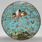 André-Fernand THESMAR (1843-1912) and Ferdinand BARBEDIENNE (1810-1892) - Plate with Chickadee and butterfly