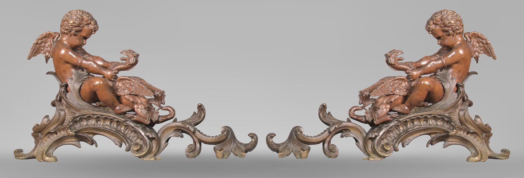 Pair of chenets, with putti and chimeras, made out of two patinas bronze-0