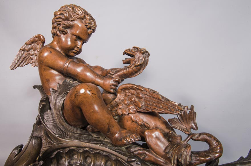 Pair of chenets, with putti and chimeras, made out of two patinas bronze-2