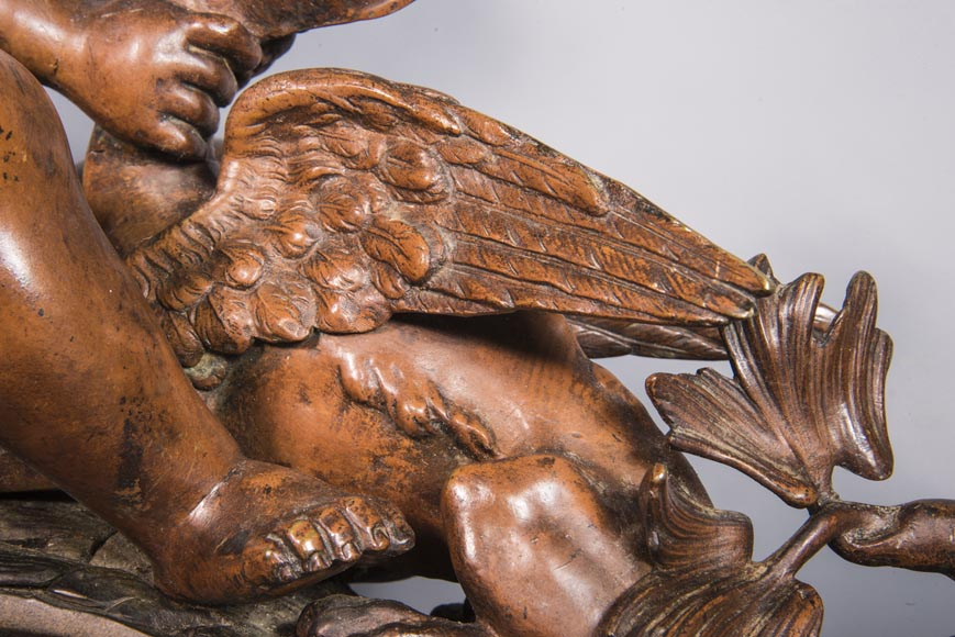 Pair of chenets, with putti and chimeras, made out of two patinas bronze-4