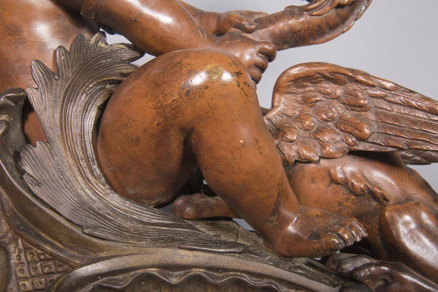 Pair of chenets, with putti and chimeras, made out of two patinas bronze-5