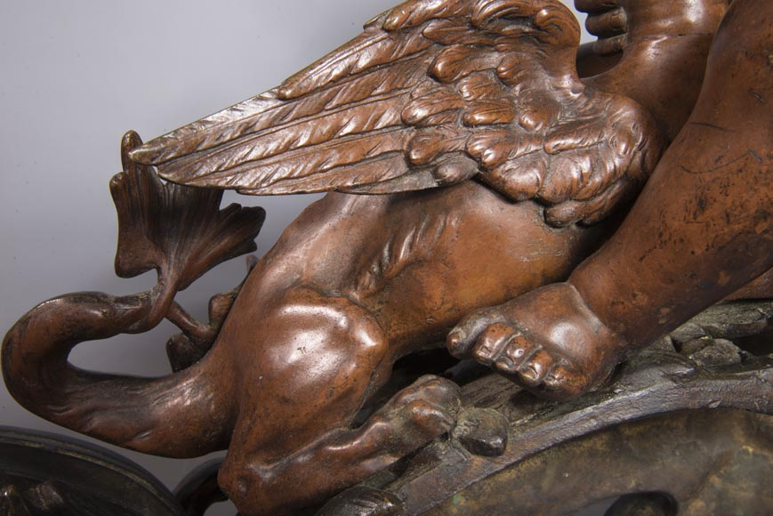Pair of chenets, with putti and chimeras, made out of two patinas bronze-8