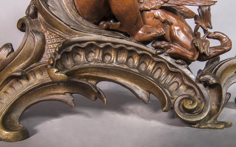 Pair of chenets, with putti and chimeras, made out of two patinas bronze-9