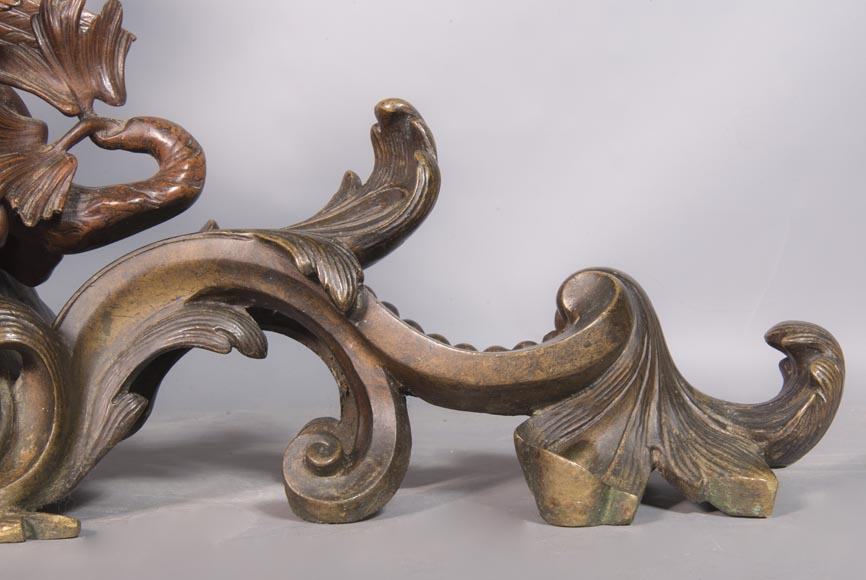 Pair of chenets, with putti and chimeras, made out of two patinas bronze-10