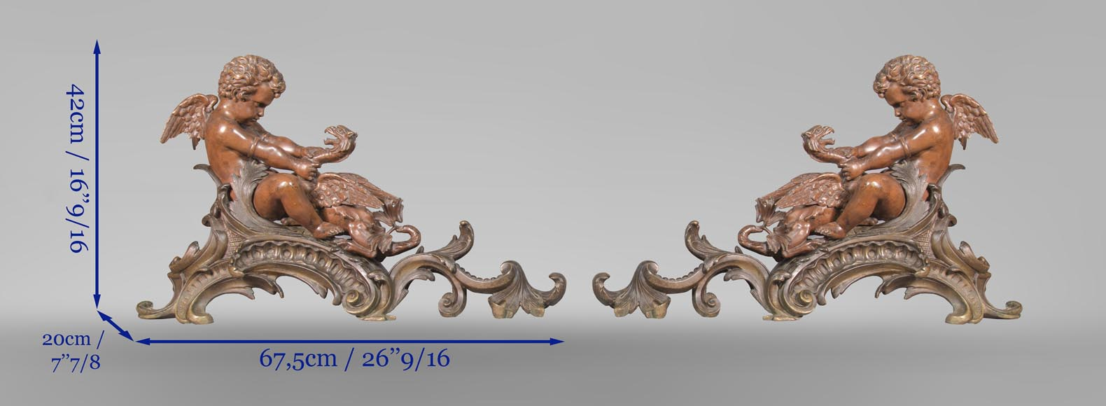 Pair of chenets, with putti and chimeras, made out of two patinas bronze-12
