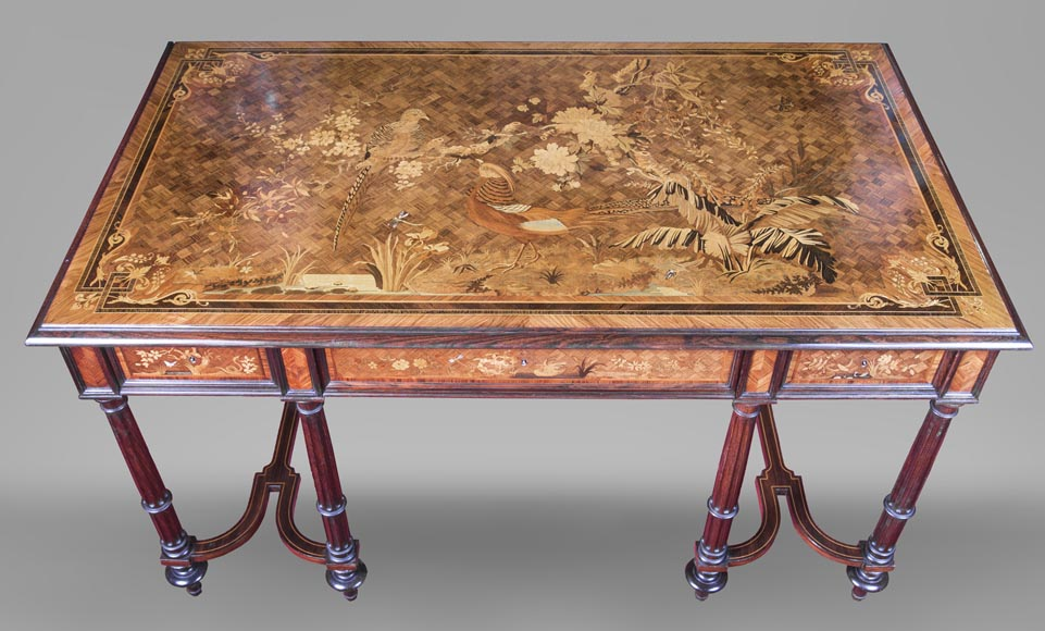 Marquetry desk with lake landscape decoration signed Martin-0