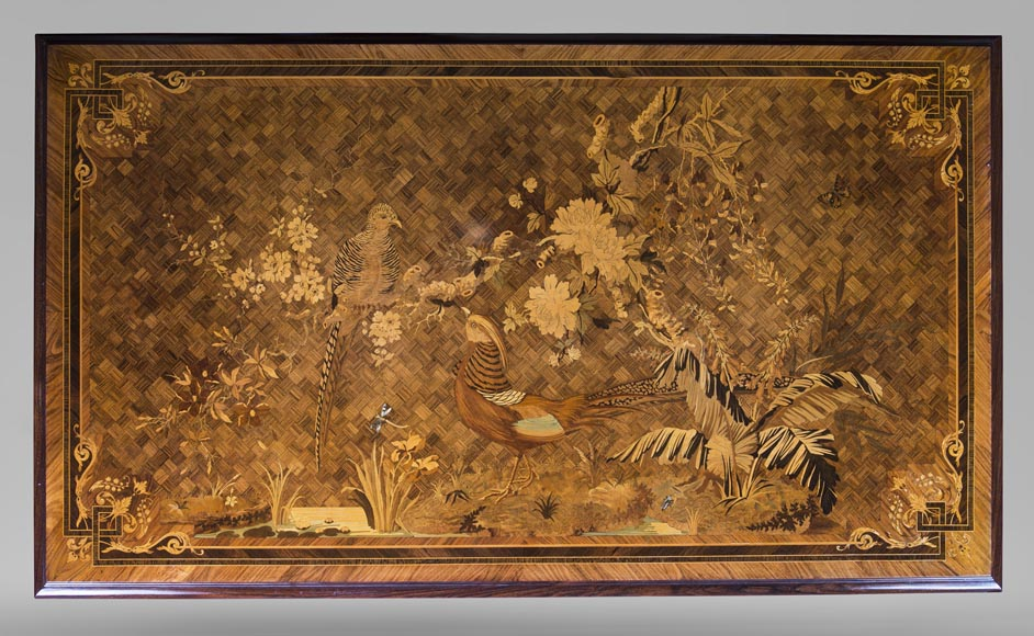 Marquetry desk with lake landscape decoration signed Martin-2