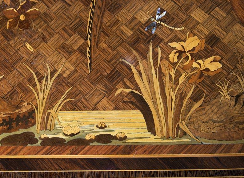 Marquetry desk with lake landscape decoration signed Martin-6