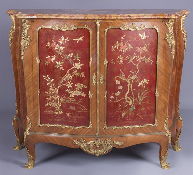 Louis XV style two-door buffet, in marquetry with red lacquered decoration-0