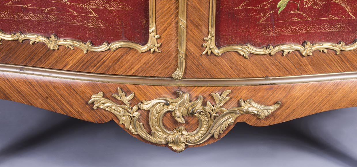 Louis XV style two-door buffet, in marquetry with red lacquered decoration-3