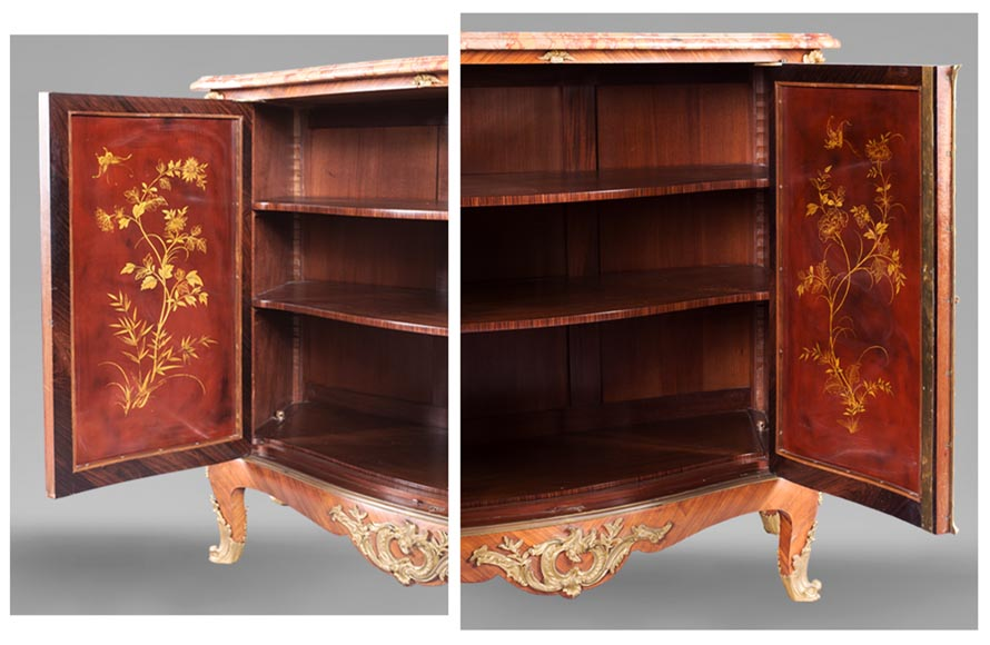 Louis XV style two-door buffet, in marquetry with red lacquered decoration-4