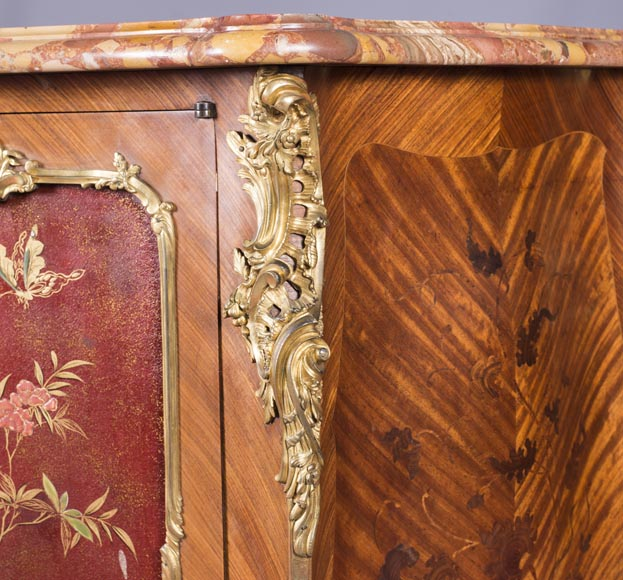 Louis XV style two-door buffet, in marquetry with red lacquered decoration-5
