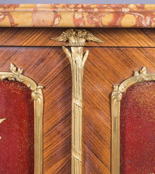 Louis XV style two-door buffet, in marquetry with red lacquered decoration-6
