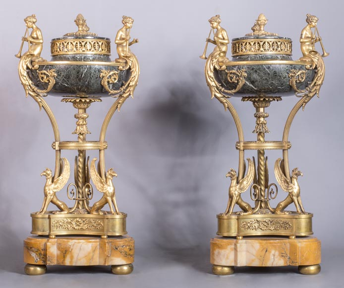 Pair of cassolettes with blowers and griffins, in Napoleon III style, in Vert de Mer, Jaune de Sienne marble and gilded bronze.-0