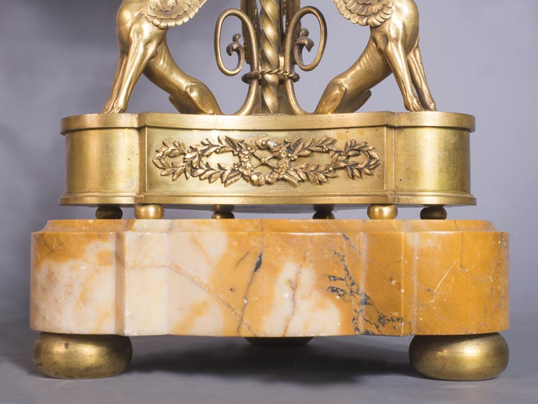 Pair of cassolettes with blowers and griffins, in Napoleon III style, in Vert de Mer, Jaune de Sienne marble and gilded bronze.-8