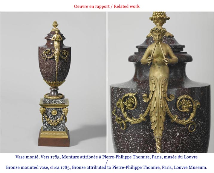Pair of cassolettes with blowers and griffins, in Napoleon III style, in Vert de Mer, Jaune de Sienne marble and gilded bronze.-9