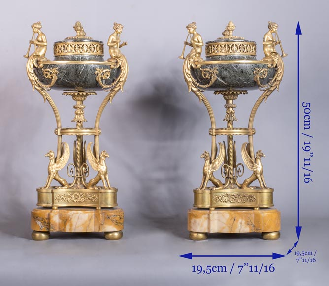 Pair of cassolettes with blowers and griffins, in Napoleon III style, in Vert de Mer, Jaune de Sienne marble and gilded bronze.-10