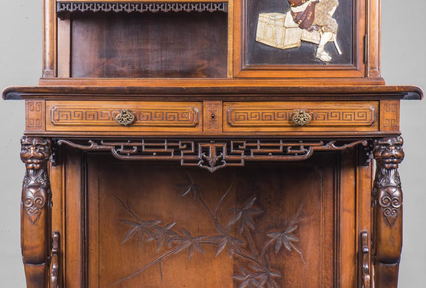 Japanese style presentation cabinet with ivory and lacquer decoration-6