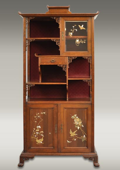 Japanese style display cabinet with birds-0